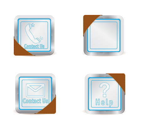 side effect: Contact us and help icons with leather effect on the side Illustration