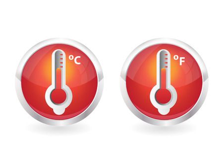 red thermometer icons with round shape