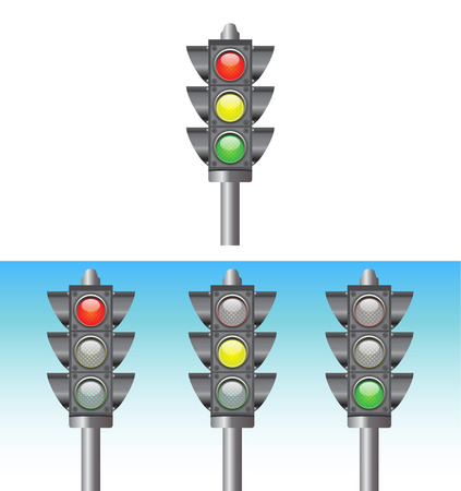 validated: trafiic light illustrator red yellow and green light Illustration