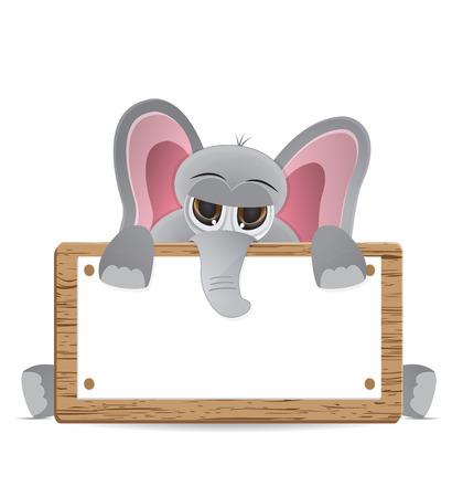 mamal: cute elephant animal peeking behind text box Illustration
