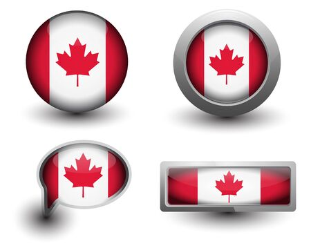 canada flag in icons and button shape Vector