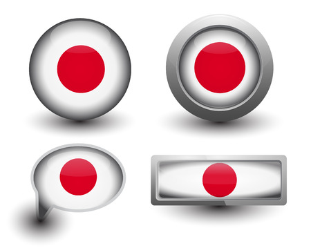 Japan flag in icons and button shape Vector