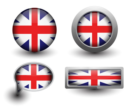 United Kingdom flag in icons and button shape Vector