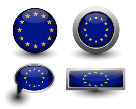 European Union Vector Flag in icons and button shape