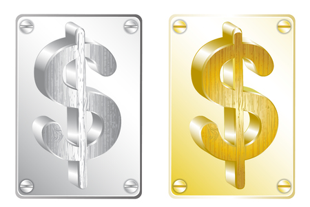 silver and gold dollar sign
