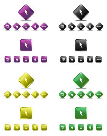 obscene gesture: Web cursor set with different colors Illustration