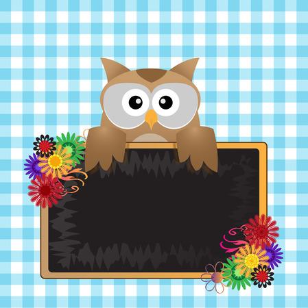 owl cartoon and black board Vector