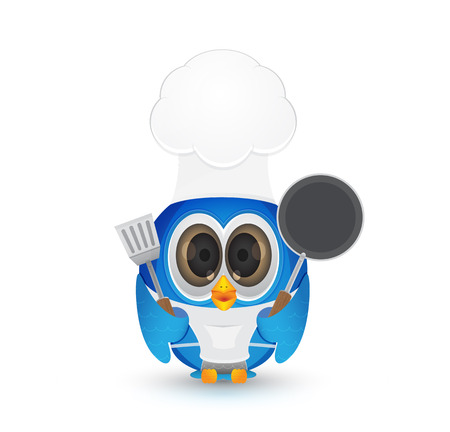 cooking ware: Bird as chef holding pan and cooking ware