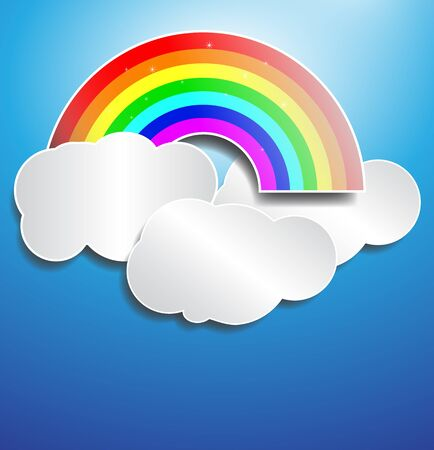 Rainbow and cloud with blue colour