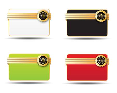 Cuatro colores diferentes para etiqueta de la tarjeta vip Foto de archivo - 36599674