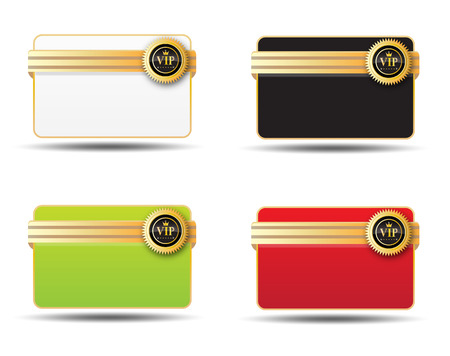 vier verschillende kleuren voor de vip-kaart label Stock Illustratie
