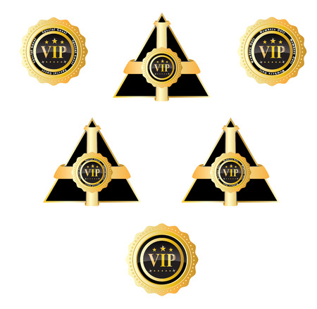 vip badge: triangle vip sign and badge Illustration