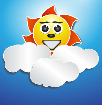 Sund and cloud with papper effect Illustration