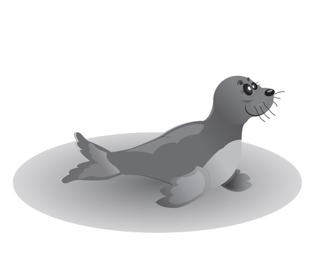 sea lion illustration in gray color Vector