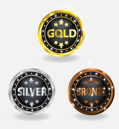 gold silver bronze: Badge Gold Silver Bronze Set Illustration