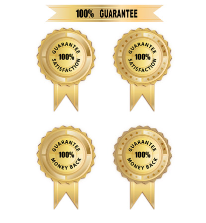 Guarantee for satisfaction and moneyback in gold color Vector