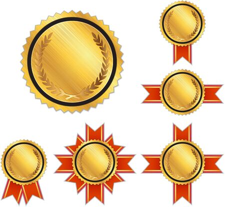 Set of gold award medals with space for text Illustration