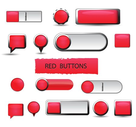 Set of red buttons on white background