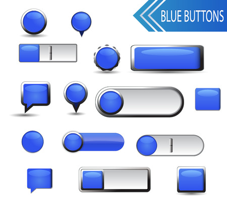 Set of blue buttons on white background