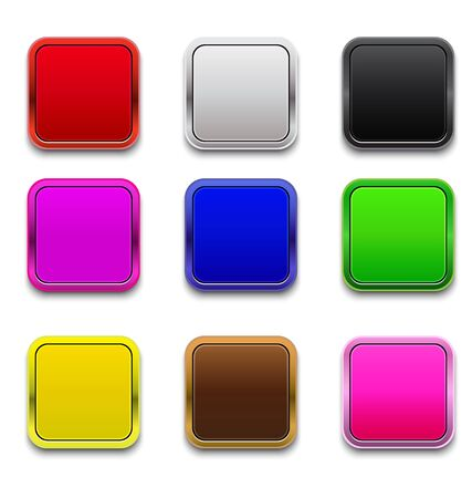 web 2 0: square button with bright color Illustration