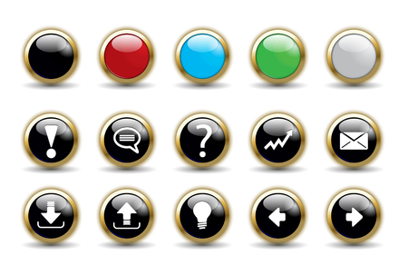 Button set collection with blank variation color Illustration