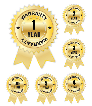 3 5 years: golden warranty badge with ribbon Illustration