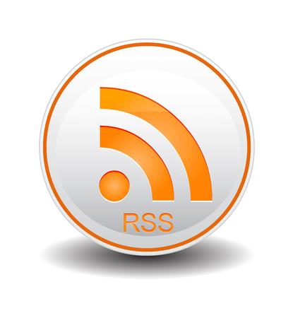 syndication: rss naranja y de color blanco Vectores