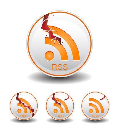 syndication: rss ronda alimentaci�n y agrietada Vectores