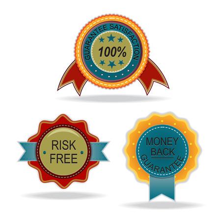 risk free: satisfaction, risk free, and money back guarantee vintage label Illustration