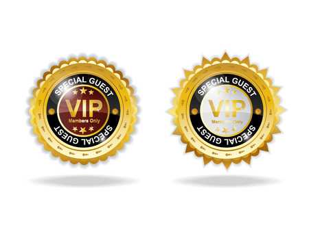 Vip sign label with gold color and shadow Illustration