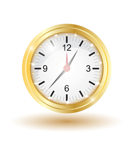 counting money: shiny gold clock isolated
