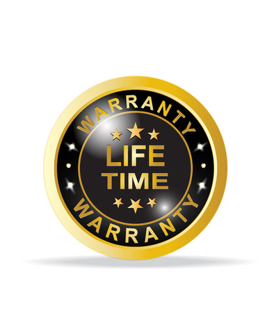 Golden warranty life time satisfaction guarantee badge Illustration