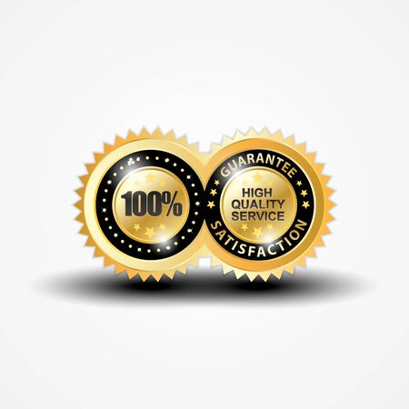 Twin circle guarantee satisfaction Vector Illustration