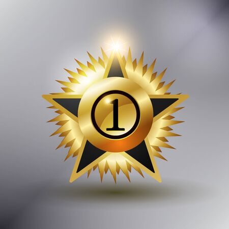 no 1: No 1 Star Medal gold color and shiny