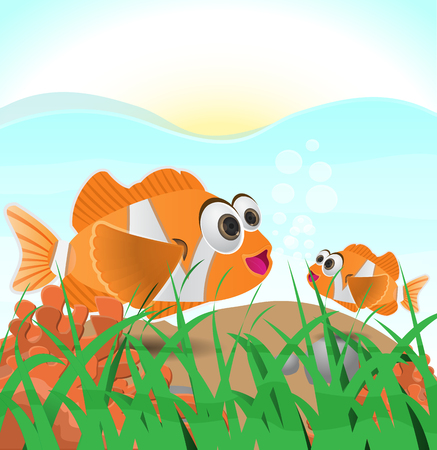 anemonefish: vector illustration of a clown fish underwater