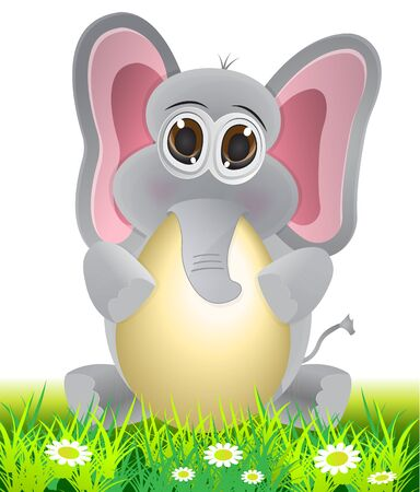 cute cartoon elephant holding and egg Vector