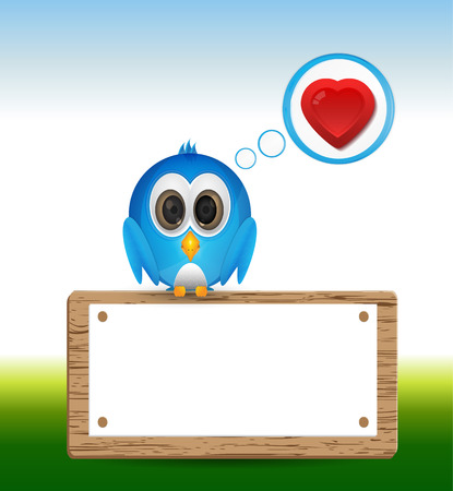 cute cartoon blue bird in love Illustration