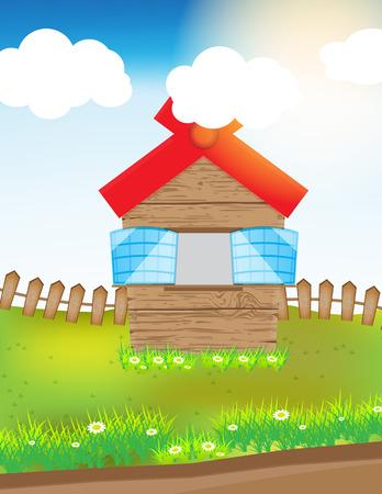 speelveld gras: vector illustratie houten huis in het gras veld met cloud zon en gras