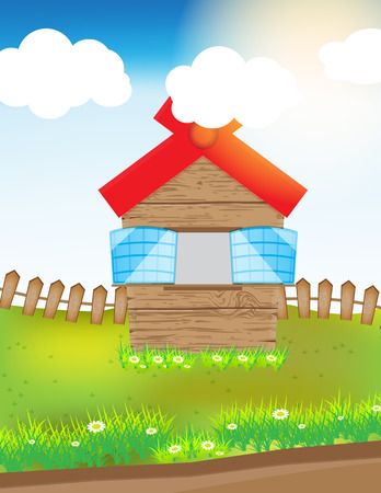 vector illustration wood house in grass field with cloud sun and grass Vector
