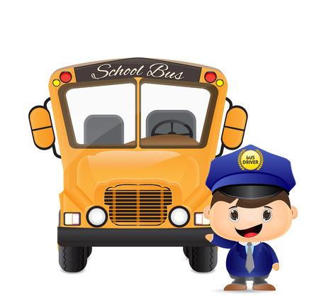 bus driver: autob�s escolar y autob�s ilustraci�n controlador Vectores