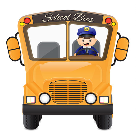 cartoon bus driver driving his bus