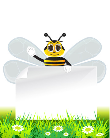 illustration of bee holding a text paper