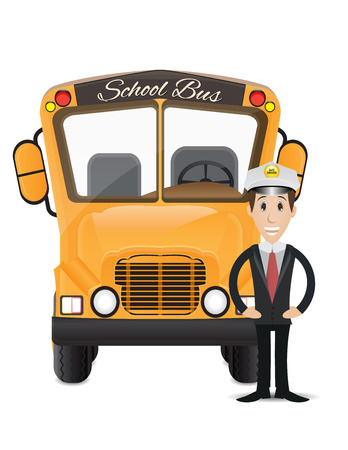 female driver: school bus and bus driver illustration 2