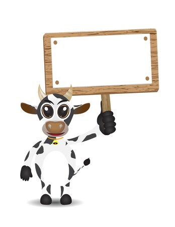 art product: illustration cute cow cartoon with holding up text box Illustration
