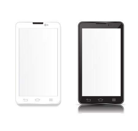 desk toy: illustration black and android phone on white background