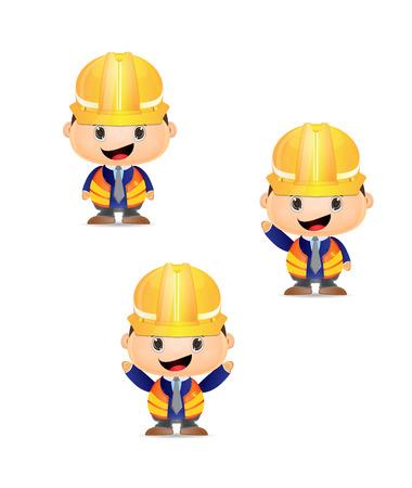Illustration of cartoon man construction worker Illusztráció