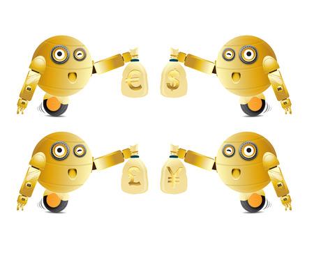 greedy: greedy robot illustration holding money bag