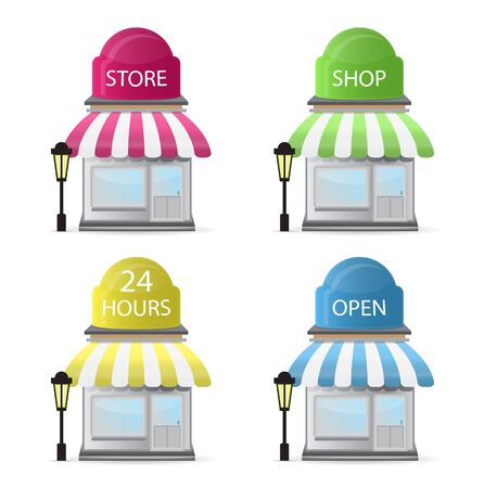 bakery store: set of store front in few color