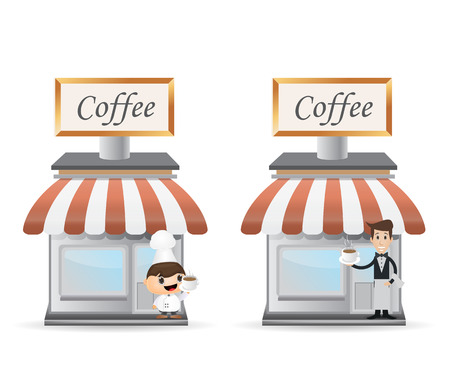 storefront: two illustration of storefront coffee with character cartoon