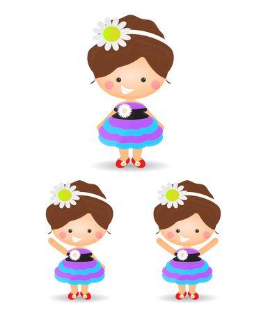 one girl: single girl cartoon on white background